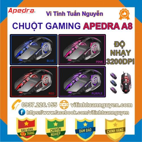 Chuột Game APEDRA A8 Led 7 Màu Dây Dù